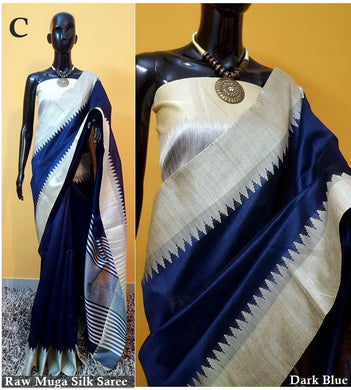 Navyblue Colour New Designer Raw Murga Silk Original Boutique Saree With Blouse