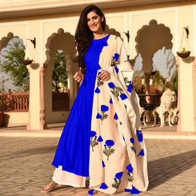 Royal Blue Colour Awesome Indian Stylish Women Designer Party Salwar Suit Kameez Semi-stiched Dress