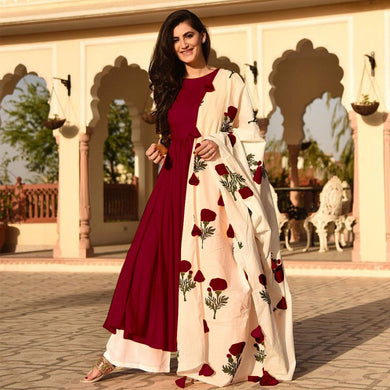 Maroon Colour Awesome Indian Stylish Women Designer Party Salwar Suit Kameez Semi-stiched Dress With