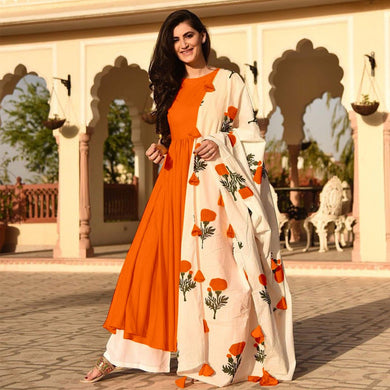 Orange Colour Awesome Indian Stylish Women Designer Party Salwar Suit Kameez Semi-stiched Dress With