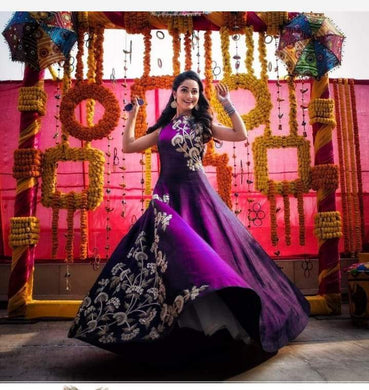 Pueple Taffeta Silk Codding Embroidery Long Anarkali Gown