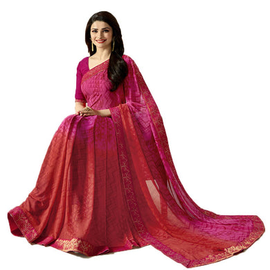 New Designer Pink Color Party Wear Bollywood Traditional Wear Printed Saree
