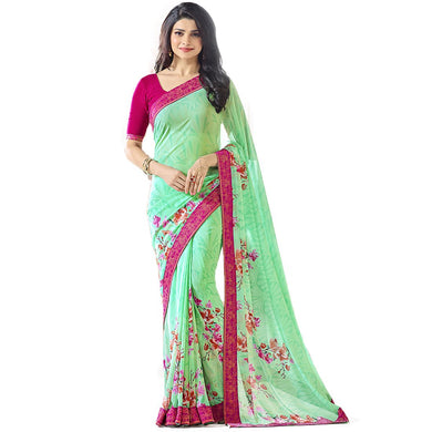 New Designer Sea Green Color Party Wear Bollywood Traditional Wear Printed Saree