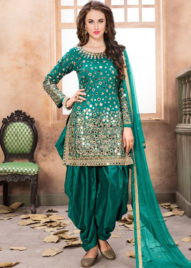 Elegant Firogi Color Embroidery Work Straight Salwar Kameez