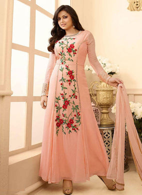 Amazing Peach Colored Designer Heavy Embroidered Worked  Salwar Kameez