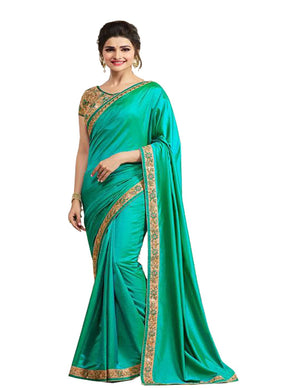 New Designer Aqua Green Color Party Wear Bollywood Traditional Ethinic Wear Saree