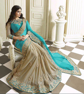 New Designer Sea Green Color Party Wear Bollywood Traditional Ethinic Wear Saree