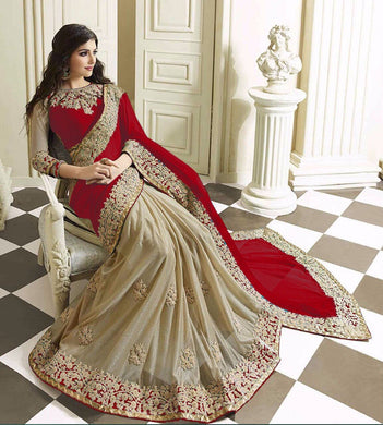 New Designer Red Color Party Wear Bollywood Traditional Ethinic Wear Saree