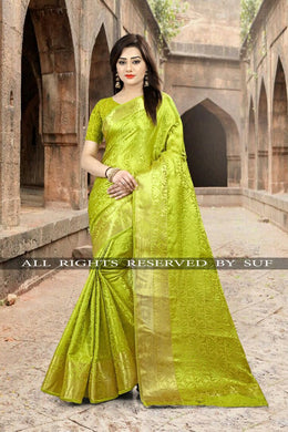 Awesome Pista Color Party Wear Traditional Printed Work Saree