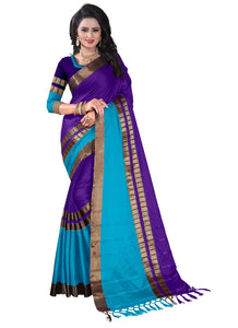 Awesome Purple Color Party Wear Traditional Printed Work Saree