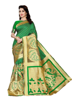 Awesome Green Color Party Wear Traditional Printed Work Saree