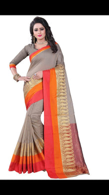 Awesome Designer Grey  Color Party Wear Traditional Printed Work Saree