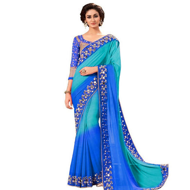 Blue Color Party Wear Bollywood Traditional Mirror Work Saree