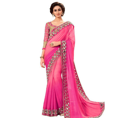 Pink Colour Pink Color Party Wear New Designer Bollywood Traditional Mirror Work Saree