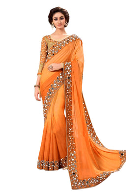 Orange Colour Orange Color Party Wear New Designer Bollywood Traditional Mirror Work Saree
