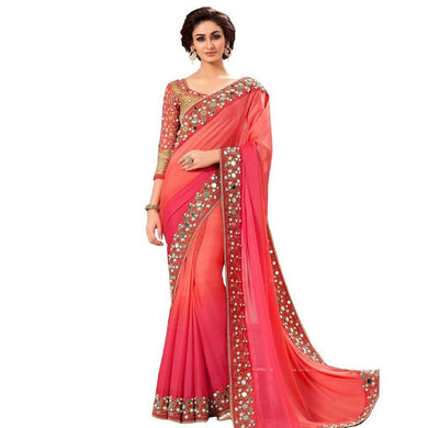 Red Colour Red Color Party Wear New Designer Bollywood Traditional Mirror Work Saree