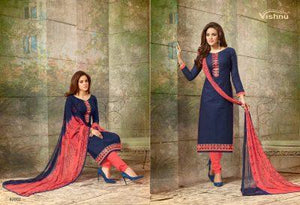Amazing Navy Blue Colored Designer Heavy Embroidered Worked Straight Salwar Kameez