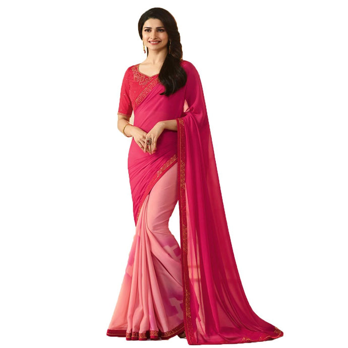 New Designer Pink Color Party Wear Bollywood Traditional Ethinic Wear Printed Saree