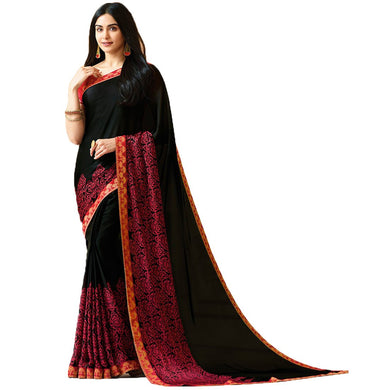 Black Color Party Wear Bollywood Traditional Ethinic Wear Printed Saree