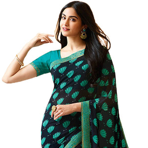 New Designer Blue Color Party Wear Bollywood Traditional Ethinic Wear Printed Saree