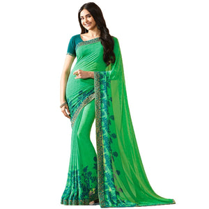 Green Color Party Wear Bollywood Traditional Ethinic Wear Printed Saree
