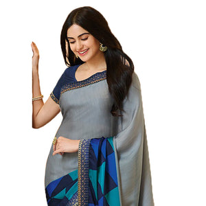 New Designer Grey Color Party Wear Bollywood Traditional Ethinic Wear Printed Saree