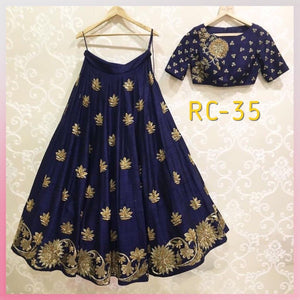 New Designer Navy Blue Color Party Wear Bollywood Traditional Ethinic Wear Embroidered Lehanga Choli