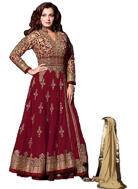 Aristocratic Red Colored Embroidered Georgette Anarkali