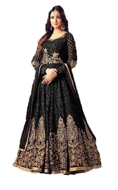 Elegant Black Colored Embroidered Georegette Chian Stitch Embroideried Worked Anarkali Suit