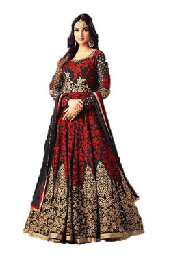 Sunflower Red Suit With Chain Stitch Embroidery Work Anarkali Salwar Suit