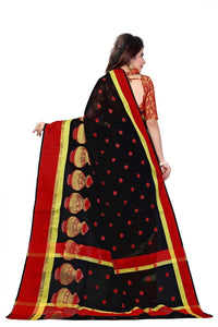 Black Banarasi Cotton Silk Saree With Fancy Fabrics Blouse