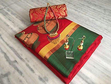Red Banarasi Cotton Silk Saree With Fancy Fabrics Blouse