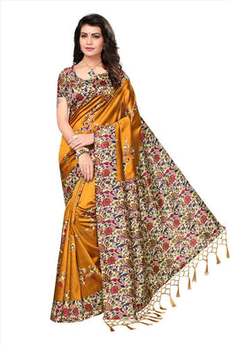 Mustard Printed Party Wear Silk Saree With Blouse