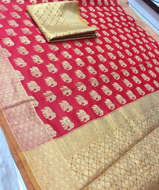 Trendy Multi-colour Heavy Bridal Soft Banarasi Kanchipuram Silk Look Saree