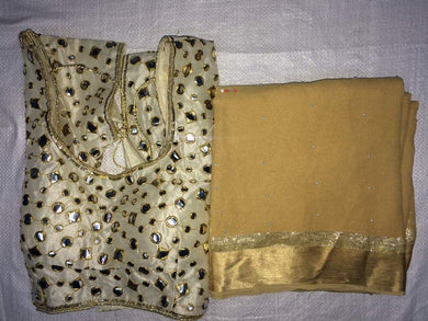Beige Colour Awesome Attractive Designer Pure Georgette Satin Patti Pearl Work With Stitched Blouse