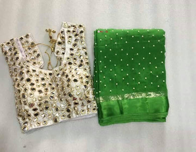 Green Colour Awesome Attractive Designer Pure Georgette Satin Patti Pearl Work With Stitched Blouse