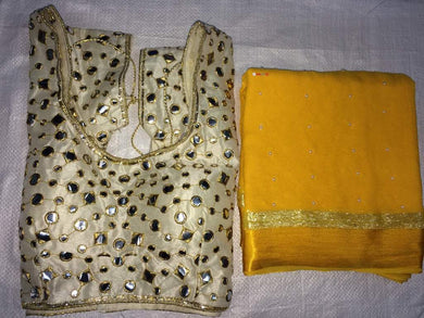 Yellow Colour Awesome Attractive Designer Pure Georgette Satin Patti Pearl Work With Stitched Blouse