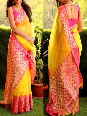 New Trendy Latest Designer Multi-colour Satin Digital Print Saree With Running Blouse