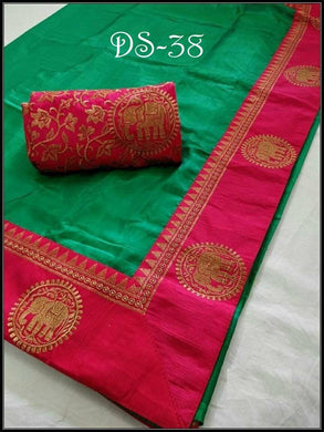 Green Colour Trendy Bollywood Look Attractive Lattest Sana Silk Designer Saree With Heavy Border