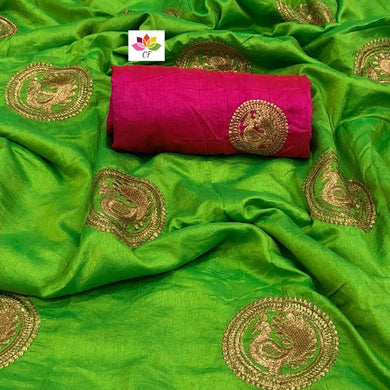 Mahendi Colour Awesome Attractive Hot Lattest Designer Sana Silk Saree With Blouse