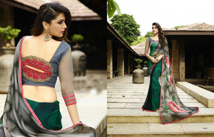 Green And Multicolor  Printed Saree