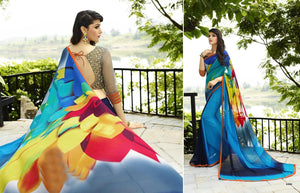 Firogi And Multicolor  Printed Saree