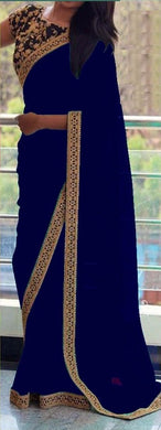 Appealing New Attractive Designer Blue Sequance And Thread Work Georgette Partywear Saree With Blous