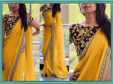 Buy Amazing Attractive Designer Yellow Sequance And Thread Work Georgette Partywear Saree With Blous