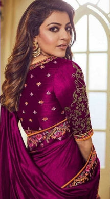 Kajol Agrawal Bollywood Magento Color Vichitra Silk Embroidery Work Border Saree
