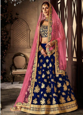 Awesome Looks On Women Blue Color With Embroidery Worked Lehenga Choli