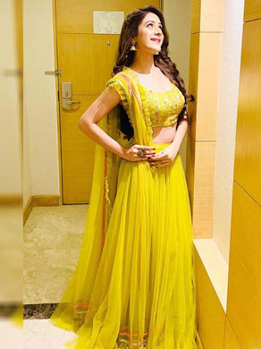 Trendy Lemon Yellow Colour Lehenga Choli With Ruffel Lace Dupatta And Embroidered Work Blouse