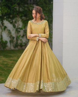 New Party Were Chiku Color Gown With Bottom