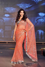 Deepika Padukone Orange Color New Party Wear Sequance Work With Real Mirror Saree Wear By