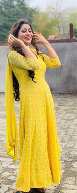 Bollywood Designer Beautiful Yellow Color And Heavy Work In Georgette Salwar Suit With Dupatta